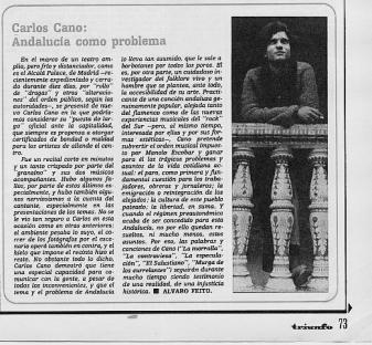 Carlos Cano en la revista Triunfo, Andalucía como problema | carloscano.es