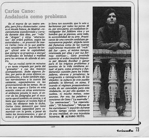Carlos Cano en la revista Triunfo, Andalucía como problema   carloscano.es