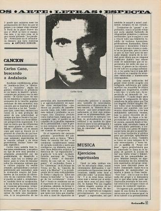 Carlos Cano en la revista Triunfo,1977 carloscano.es
