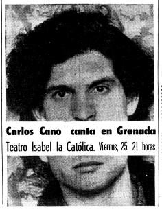 Cartel anunciando un concierto en Granada   carloscano.es