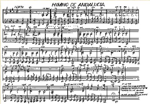 partitura original del himno de Andalucía